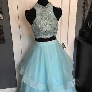 Prom Dress Blue 2 Piece Quinceanera Gown Sweet 16